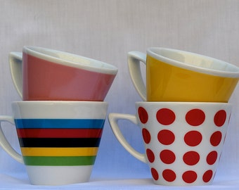Set of 4 Cappuccino-sized Cups - Grand Tour Jerseys