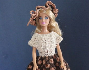 Hand crocheted dress and hat for 11 1/2 inch fashion doll