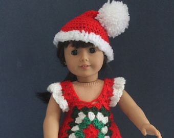 Beautiful Holiday Outfit for the 18 inch doll, hand-crocheted