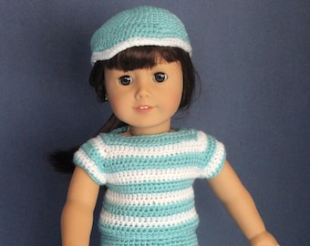 Ready-to-ship 18 inch doll playtime outfit, hand-crocheted