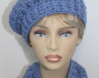 Chunky Blue Crochet Hat and Cowl