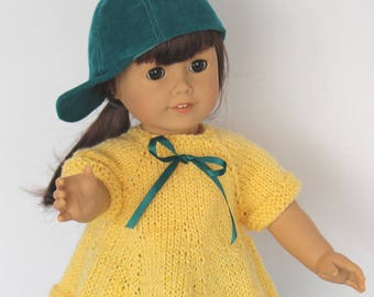 Playtime Outfit for 18 inch doll including a hand-knit top, corduroy pants and matching cap