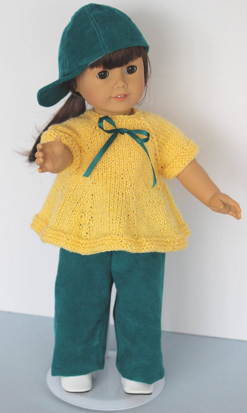 Playtime Outfit for 18 inch doll including a hand-knit top image 0