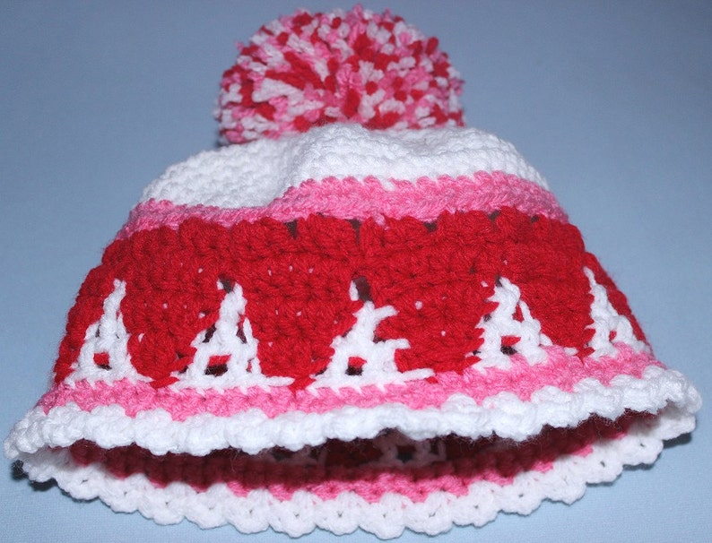 Child's white crochet Hat with Red Hearts and pink accents image 0