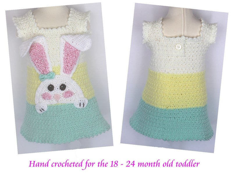 Toddler Sundress with Bunny Applique sized for 18  24 month image 0