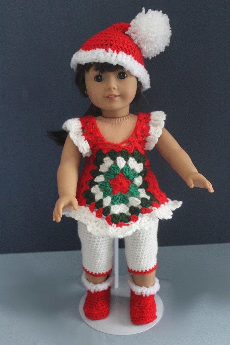 Beautiful Holiday Outfit for the 18 inch doll hand-crocheted image 0