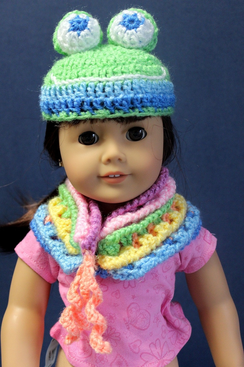 Hand crocheted Frog Hat and matching cowl for 18 inch doll image 0