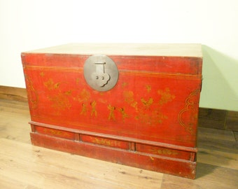 Antique Chinese Trunk (5718), Red Lacquer Hand Painted, Circa 1800 1849