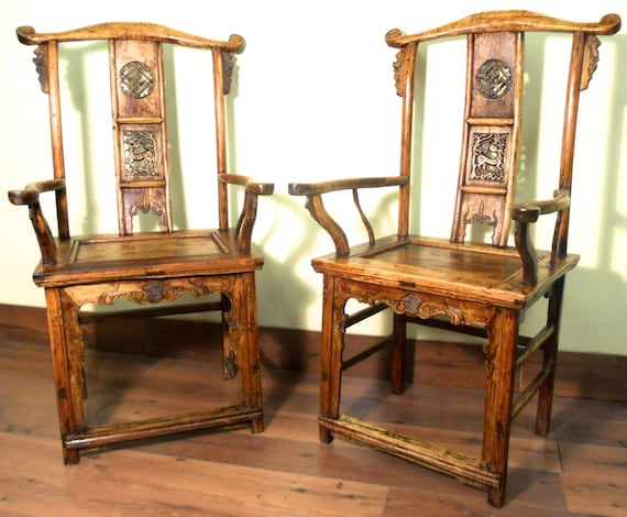 image 0 - Antique High Back Arm Chairs 5855 Pair Cypress/Elm Wood Etsy