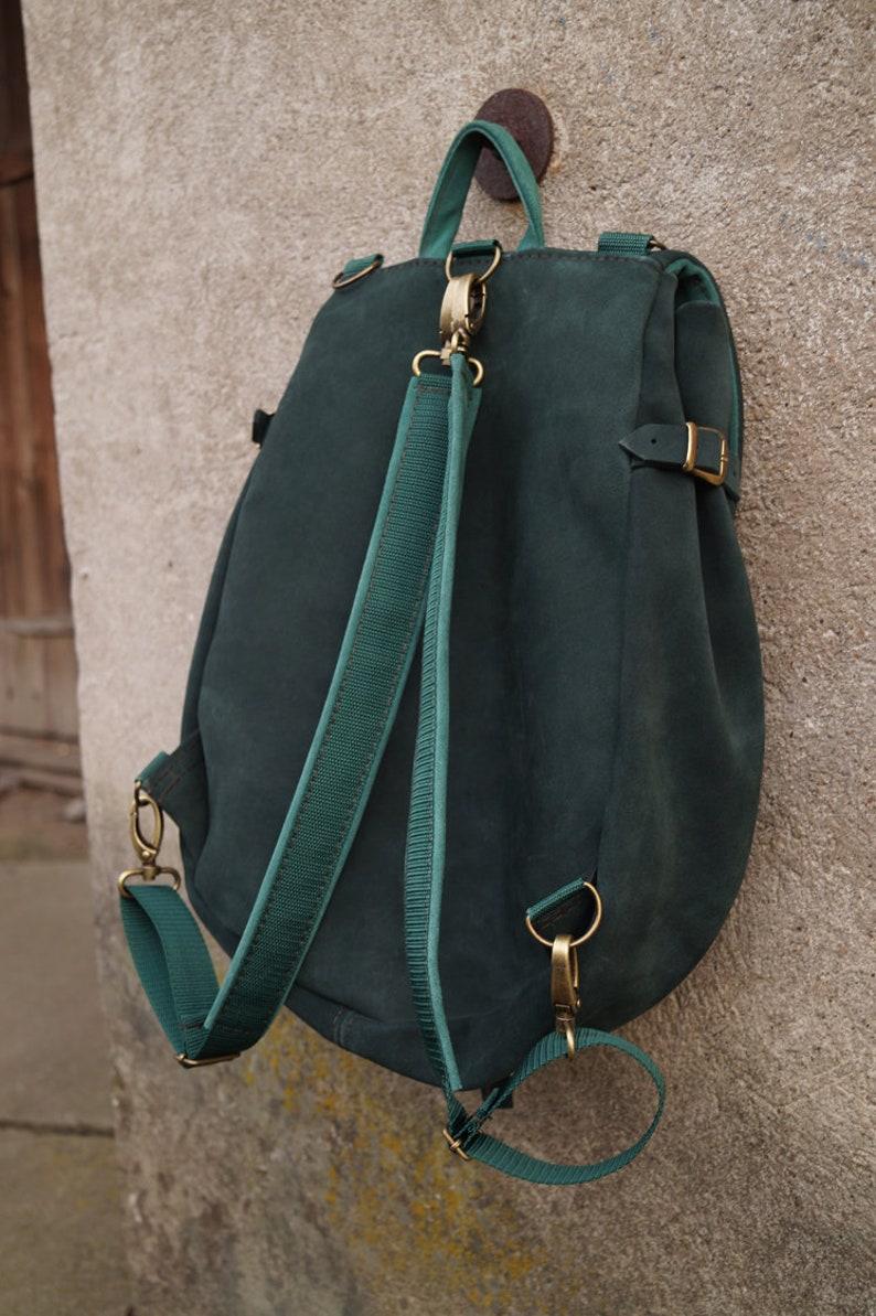 LIZBETH Backpack  Bag Natural Suede Cold Greens