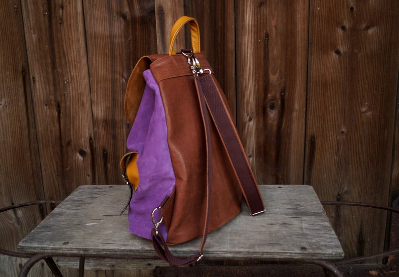 Suede leather backpack CYCYLIA lilac brown yellow