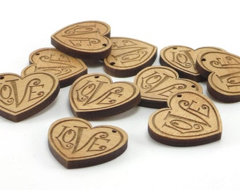Wedding, Engagement Heart Tags Engraved with Love, Heart Charms, Wood Pendants