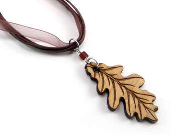 Oak Leaf Necklace, Engraved Wood Charm, Laser Cut Wood Pendant with Brown Ribbon and Bead