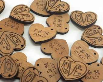 Personalized Wedding Tags, Heart Engagement Favors, Save the Date Custom Wood Love Charms