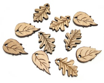 Oak and Birch Leaf Charms, Wood Cutout, Fall Leaves, Leaf Tags