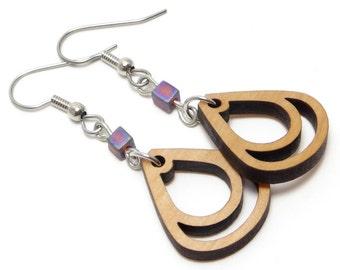 Double Teardrop Wood Earrings with Bead, Laser Cut Pear Shaped Earring