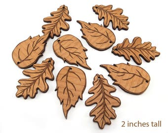 2 Inch Engraved Wood Leaf Supplies