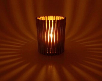 Wood Tea Light Candle Holder with Living Hinge Design