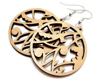 Large Hoop Filigree, Scroll Wood Earrings, Brown Earring, Casual Jewelry