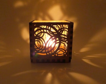 Wood Votive Candle Holder with Circle Design