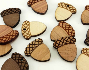Engraved Wood Acorn Charms, Wood Cutout, Fall Decor