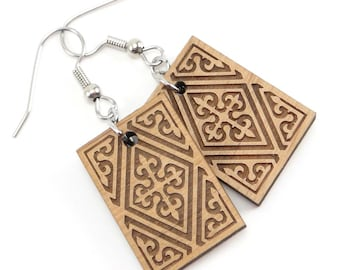 Celtic Wood Dangle Earrings, Cross Earrings, Laser Cut and Engraved Jewelry
