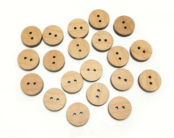 Plain Wood Round Buttons .75 inch, 2 holes, 19mm, Blank Flat Buttons