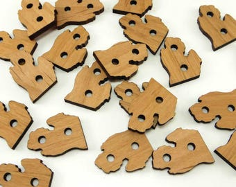 Michigan Buttons, Michigan Wood Button, Michigan Shaped Wood Buttons, Michigan Cutout Tags