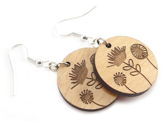 Wood Flower Earrings - Laser Cut and Engraved with Surgical Steel