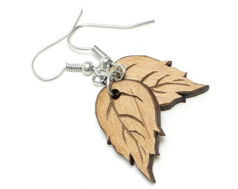 Birch Leaf Earrings, Autumn Leaf Earring, Fall Leaf Earring