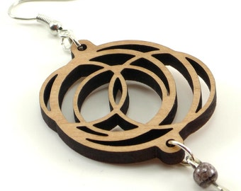 Wood Hoop Earrings with Bead