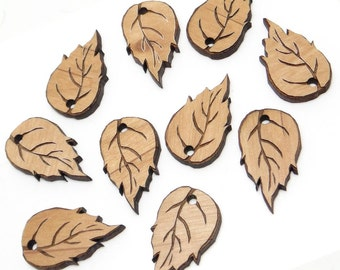 Engraved Birch Leaf Wood Tags, Birch Leaves Charms, Wood Cutout, Fall Decor