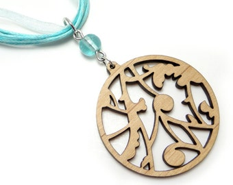 Laser Cut Wood Necklace, Filigree Pendant, Scroll Charm with Aqua Ribbon and Bead