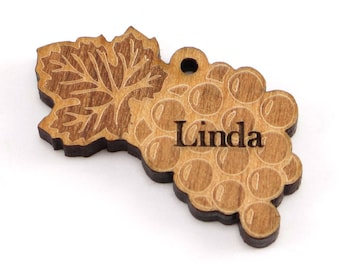 Personalized Wood Engraved Grape Leaf Tag - (Package of 10), Grape Charm