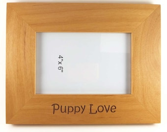 Wood photo frame engraved with Puppy Love