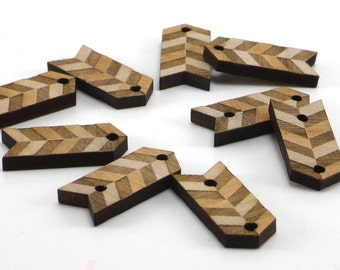 Chevron Wood Charms, Engraved Buttons, Tags
