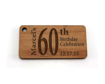 Custom Engraved Birthday Tags,  2 x 1 inch Personalized Birthday Labels, Wood Rectangle Tags