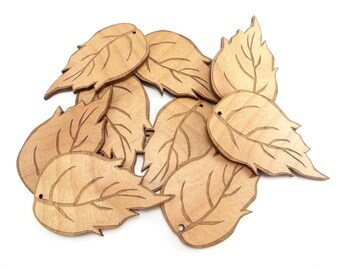 "3"" Birch Wood Leaves (Pkg of 10), Birch Tags, Birch Shaped Leaf"