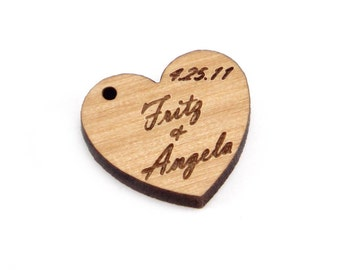 Personalized, Engraved Wood Hearts, Tags, Charms, Labels