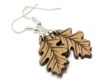 Wood Oak Leaf Engraved Earrings, Autumn Leaf Earrings, Fall Earring