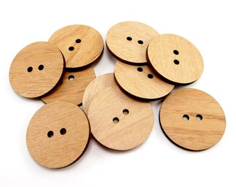 Plain Wood Flat Buttons 1.5 inch, 2 Hole Buttons