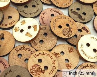 Personalized Wood Buttons 1 inch (25 mm), Custom Engraved Flat Buttons, Wood Tags