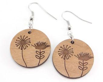 Engraved Dandelion, Wildflower Brown Wood Earring, Disc Earring, Charm Earring
