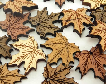 Maple Leaf Wood Charms, Wood Cutouts, Maple Tags, Fall Decor