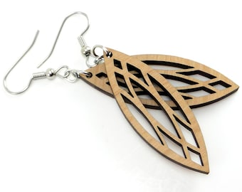 Marquise Wood Earrings with Geometric Pattern