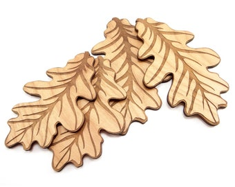 Two 4 inch and two 5 inch Engraved Wood Oak Leaf Charms, Wood Cutout, Fall Decor