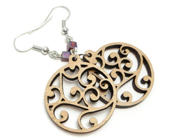 Swirl Earrings, Laser Cut, Scroll, Filigree Earrings, Wood Earrings