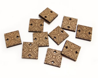 Square Wood Buttons with Engraved Flowers, Square Charms, Wood Square Cutout, Engraved Wood Beads