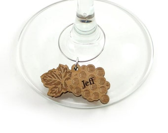 Personalized Wine Charm, Grape Leaves Wine Marker (Set of 4)