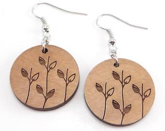 Laser Engraved Leaf Earrings, Wood Earrings, Round Earrings